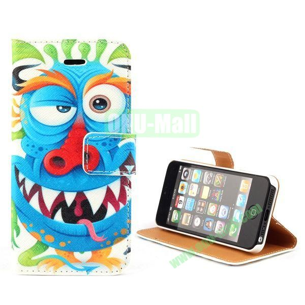 Unique Design Wallet Style Flip Pattern Leather Case for iPhone 5 5S (Funny Cartoon Pattern)