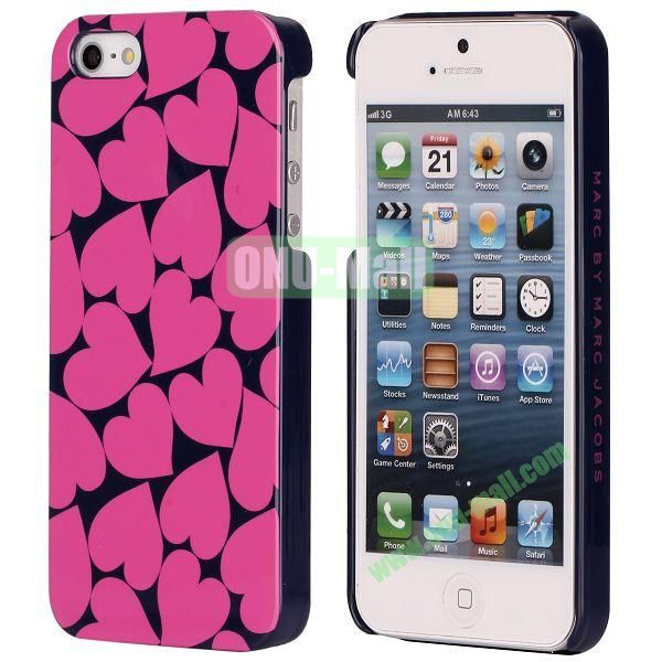 Hot Loves Pattern Electroplated Hard Case for iPhone 5  5S