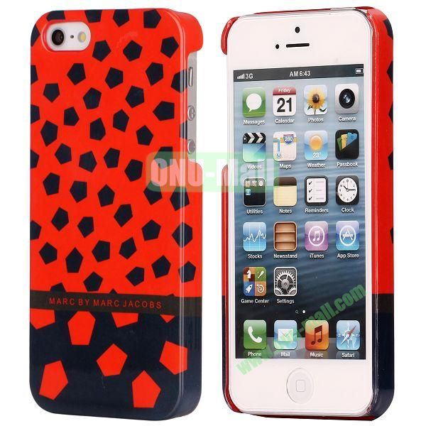 Two-tone Pentagons Pattern Electroplated Hard Case for iPhone 5  5S (Black+Red)