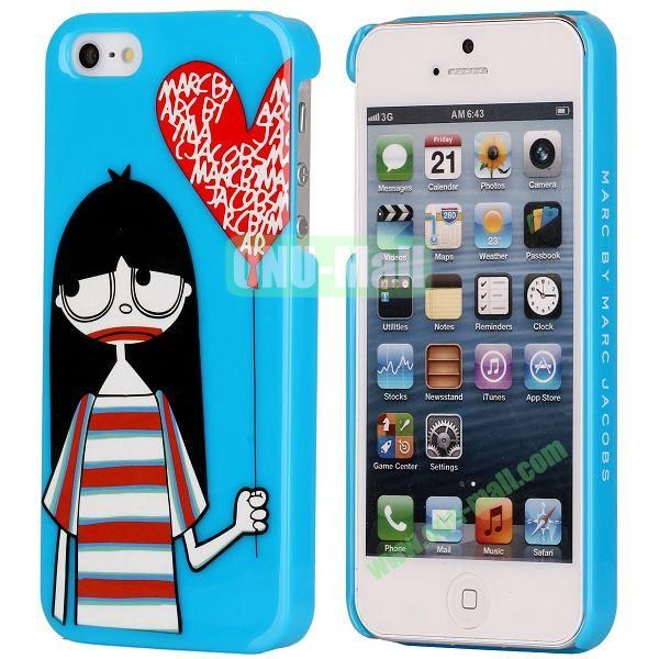 Girl and Love Pattern Electroplated Hard Case for iPhone 5  5S