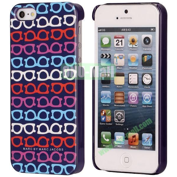 Fashion Four Colors Glasses Pattern Electroplated Hard Case for iPhone 5  5S