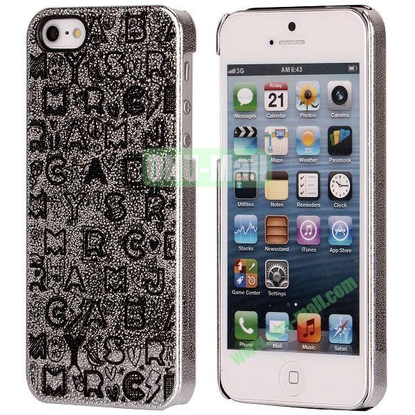 3D Rain Drop Design Letters Pattern Electroplated Hard Case for iPhone 5  5S (Silver)