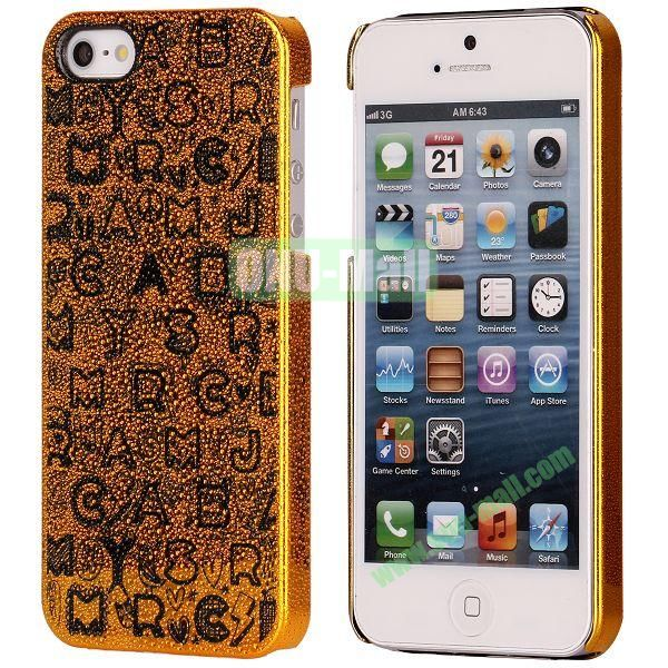 3D Rain Drop Design Letters Pattern Electroplated Hard Case for iPhone 5  5S (Gold)