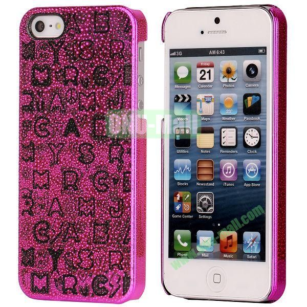 3D Rain Drop Design Letters Pattern Electroplated Hard Case for iPhone 5  5S (Rose)