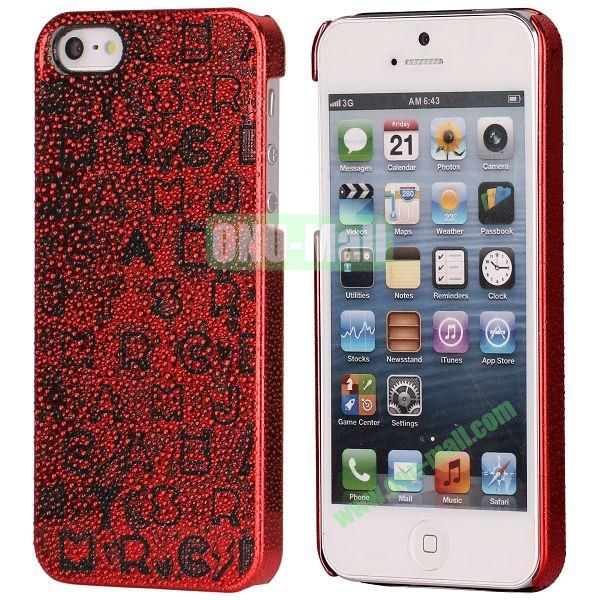 3D Rain Drop Design Letters Pattern Electroplated Hard Case for iPhone 5  5S (Red)