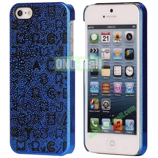 3D Rain Drop Design Letters Pattern Electroplated Hard Case for iPhone 5  5S (Blue)