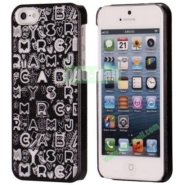 3D Rain Drop Design Letters Pattern Electroplated Hard Case for iPhone 5  5S (Black)