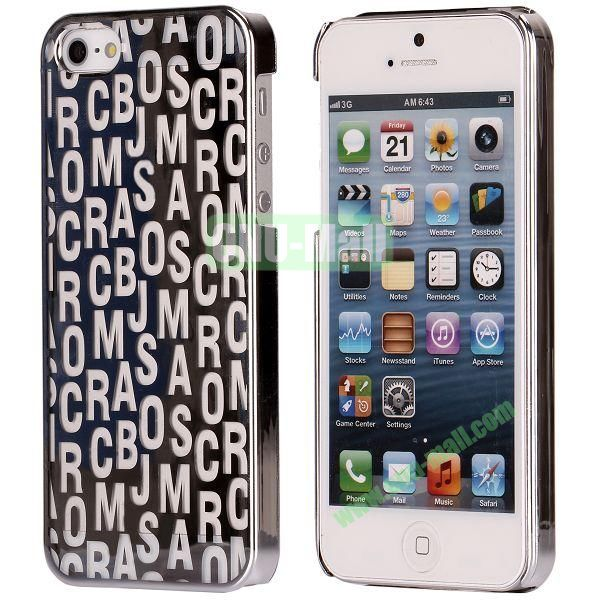 Letters Pattern Electroplated Hard Case for iPhone 5  5S (Silver)