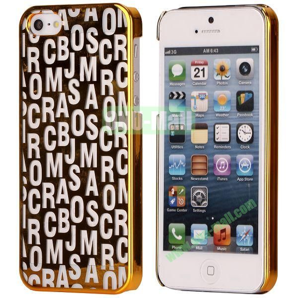 Letters Pattern Electroplated Hard Case for iPhone 5  5S (Gold)