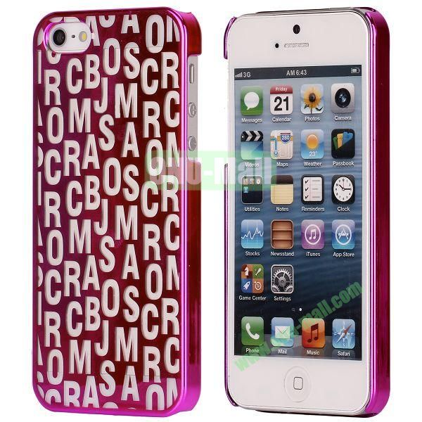 Letters Pattern Electroplated Hard Case for iPhone 5  5S (Rose)