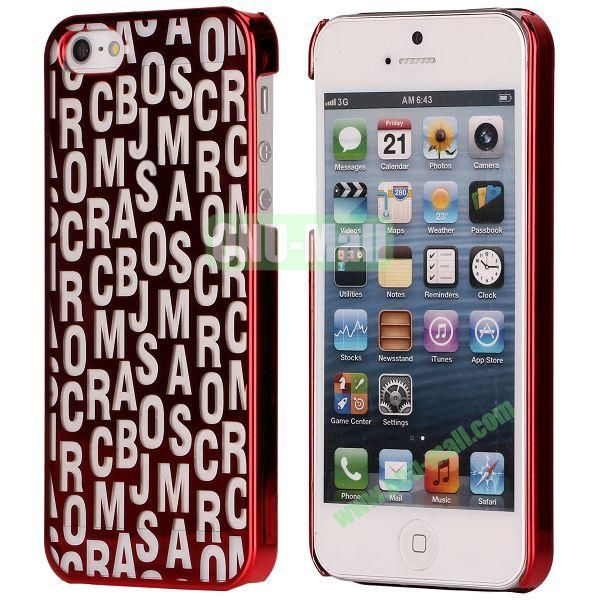 Letters Pattern Electroplated Hard Case for iPhone 5  5S (Red)