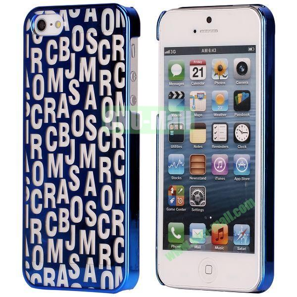 Letters Pattern Electroplated Hard Case for iPhone 5  5S (Blue)