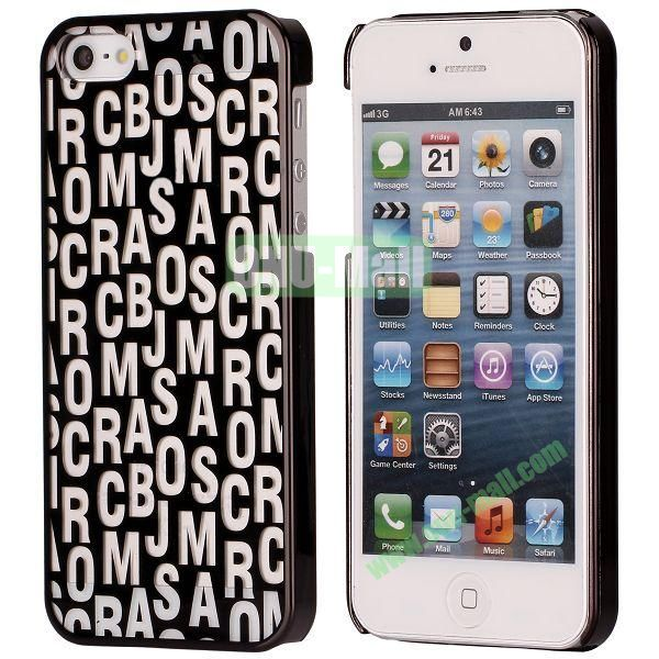 Letters Pattern Electroplated Hard Case for iPhone 5  5S (Black)