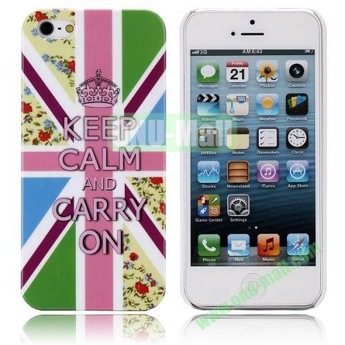 Keep Calm And Carry On And UK Flag Pattern Hard Case for iPhone 5  5S