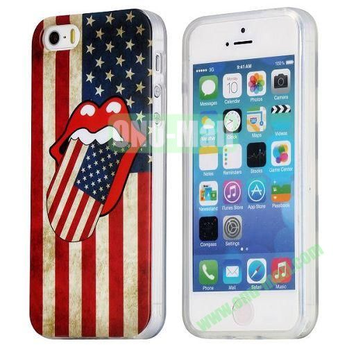 Retro USA Flag and Red Lips Pattern TPU Case for iPhone 5S  5