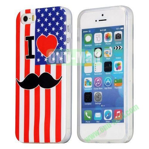 USA Flag and Red Lips Pattern TPU Case for iPhone 5S  5