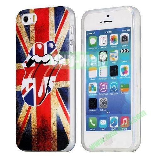 Retro UK Flag and Red Lips Pattern TPU Case for iPhone 5S  5