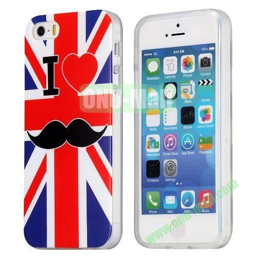 UK Flag and Red Lips Pattern TPU Case for iPhone 5S  5