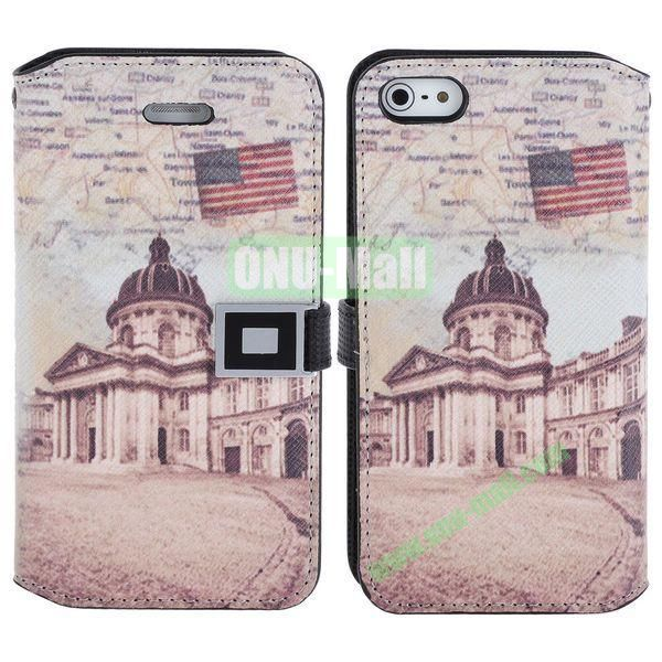 Retro White House Pattern Magnetic Flip Leather Case with Card Slots for iPhone 5S  5