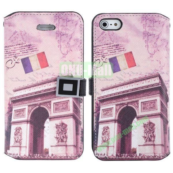 Retro France Arc de Triomphe Pattern Magnetic Flip Leather Case with Card Slots for iPhone 5S  5