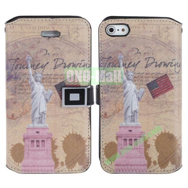 Retro Statue of Liberty of The United States Pattern Magnetic Flip Leather Case with Card Slots for iPhone 5S  5