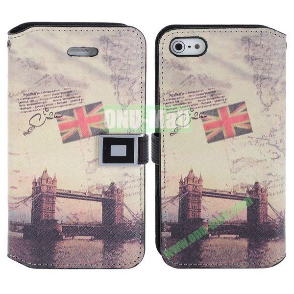Retro The Tower Bridge of Britain Pattern Magnetic Flip Leather Case with Card Slots for iPhone 5S  5