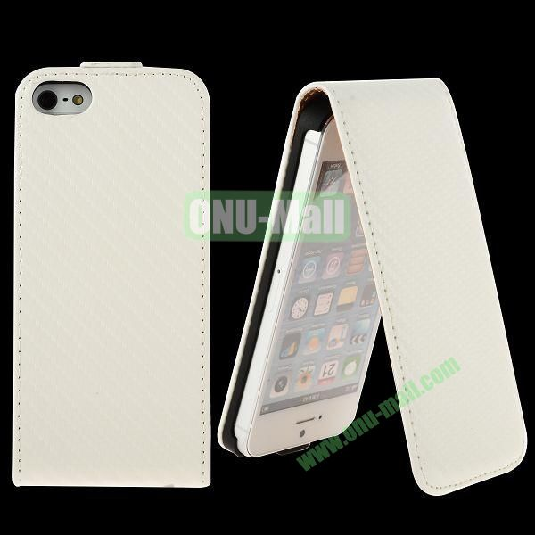 Straw Mat Texture Vertical Flip Magnetic Leather Case for iPhone 5S  5 (White)