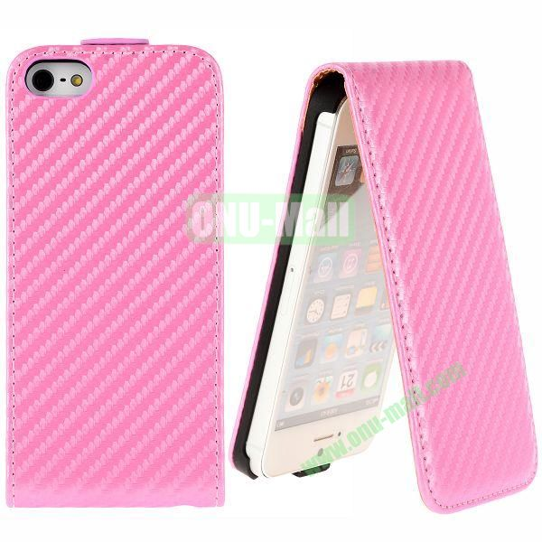 Straw Mat Texture Vertical Flip Magnetic Leather Case for iPhone 5S  5 (Pink)