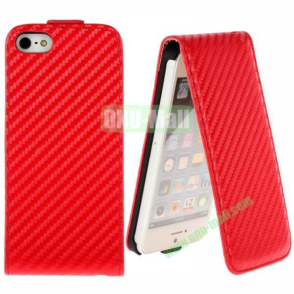 Straw Mat Texture Vertical Flip Magnetic Leather Case for iPhone 5S  5 (Red)