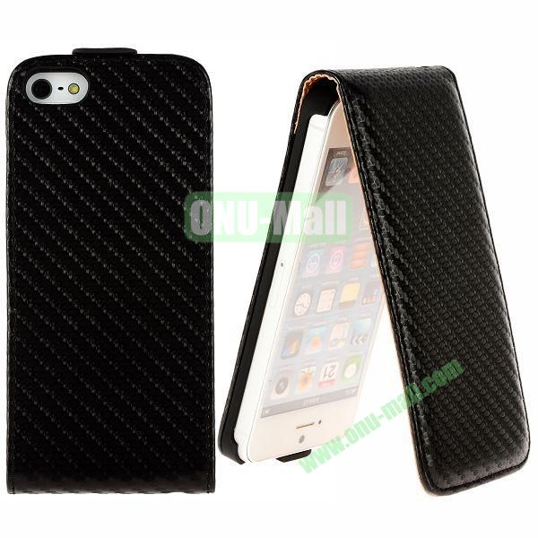 Straw Mat Texture Vertical Flip Magnetic Leather Case for iPhone 5S  5 (Black)