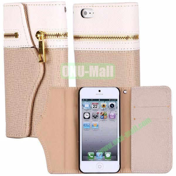 Zipper Style 3 Fold Leather Wallet Case with Strap for iPhone 5  5S (White+Yellow)