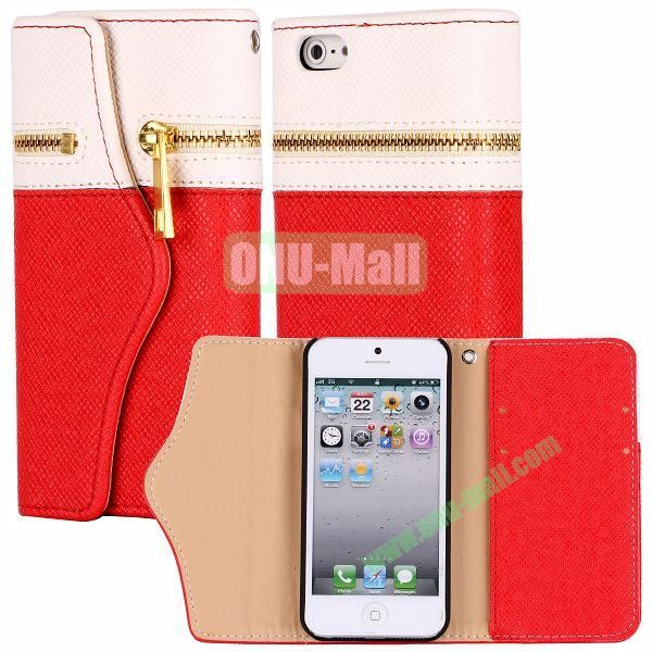 Zipper Style 3 Fold Leather Wallet Case with Strap for iPhone 5  5S (White+Red)