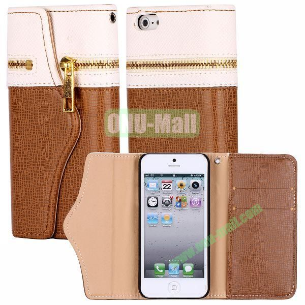 Zipper Style 3 Fold Leather Wallet Case with Strap for iPhone 5  5S (White+Brown)