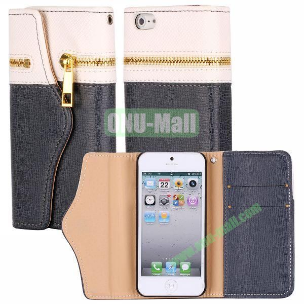 Zipper Style 3 Fold Leather Wallet Case with Strap for iPhone 5  5S (White+Black)
