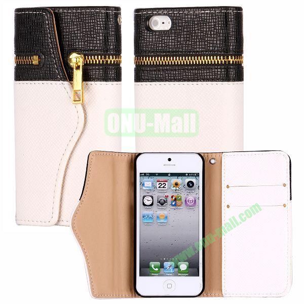 Zipper Style 3 Fold Leather Wallet Case with Strap for iPhone 5  5S (Black+White)