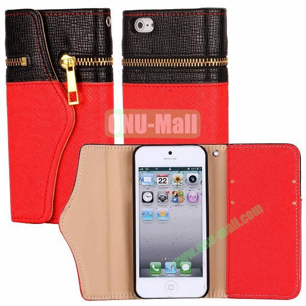 Zipper Style 3 Fold Leather Wallet Case with Strap for iPhone 5  5S (Black+Red)