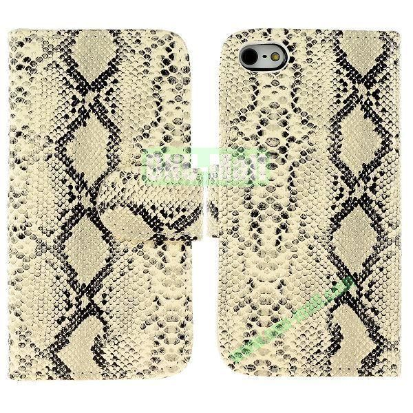 Snakeskin Texture Flip Stand Leather Case for iPhone 5S  5 with Card Slots (White)