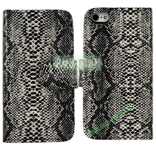 Snakeskin Texture Flip Stand Leather Case for iPhone 5S  5 with Card Slots (Grey)