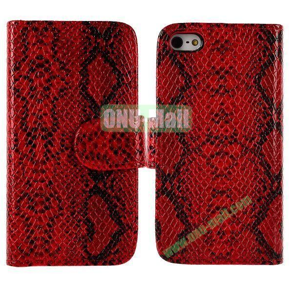 Snakeskin Texture Flip Stand Leather Case for iPhone 5S  5 with Card Slots (Red)