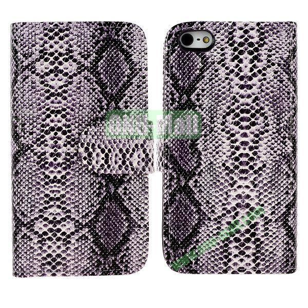 Snakeskin Texture Flip Stand Leather Case for iPhone 5S  5 with Card Slots (Purple)