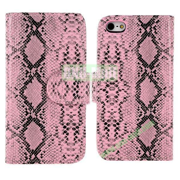Snakeskin Texture Flip Stand Leather Case for iPhone 5S  5 with Card Slots (Pink)