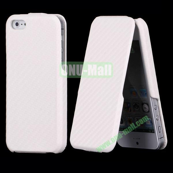 Straw Mat Texture Vertical Flip Leather Case for iPhone 5S  5 (White)