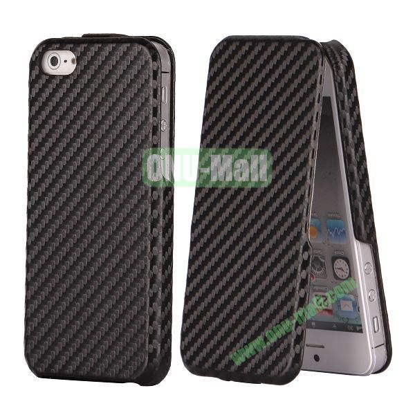 Straw Mat Texture Vertical Flip Leather Case for iPhone 5S  5 (Black)