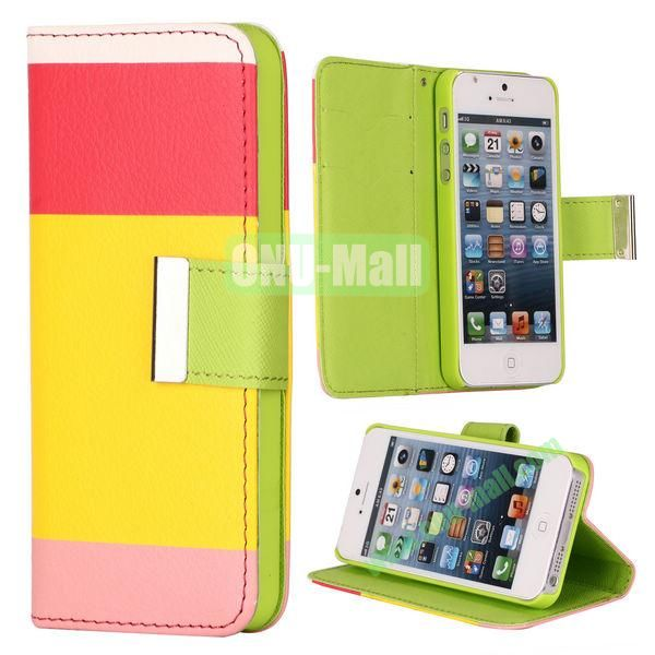 Colour Mixture Flip Stand Leather Case for iPhone 5S  5 with Card Slots (Red+Yellow+Pink)