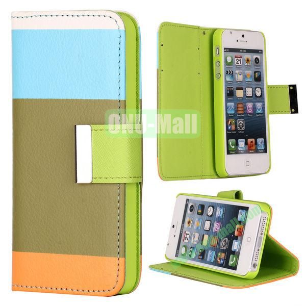 Colour Mixture Flip Stand Leather Case for iPhone 5S  5 with Card Slots (Blue+Brown+Orange)