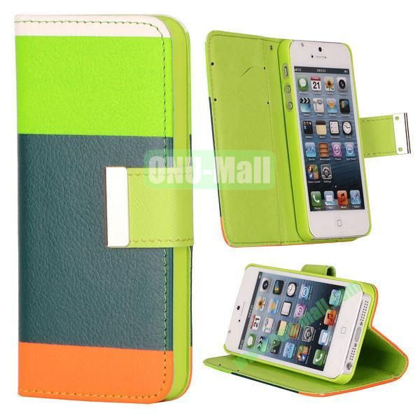 Colour Mixture Flip Stand Leather Case for iPhone 5S  5 with Card Slots (Green+Dark Blue+Orange)