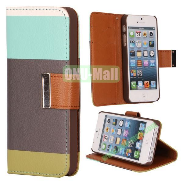 Colour Mixture Flip Stand Leather Case for iPhone 5S  5 with Card Slots (Light+Brown+Army Green)