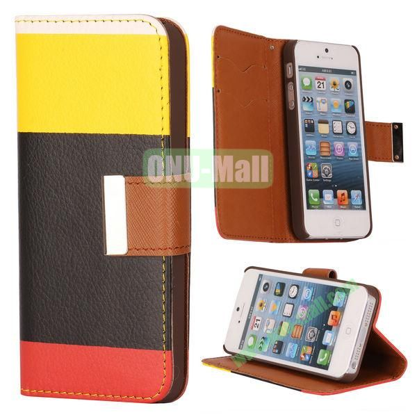Colour Mixture Flip Stand Leather Case for iPhone 5S  5 with Card Slots (Yellow+Black+Red)