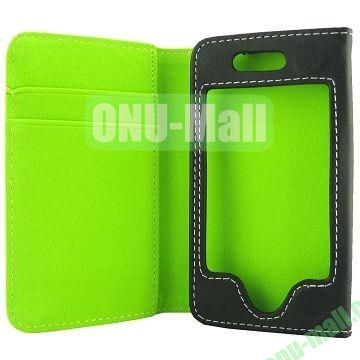 Skidproof Double Color Wallet Full Body Leather Case For iPhone 5  5S (Green+Black)