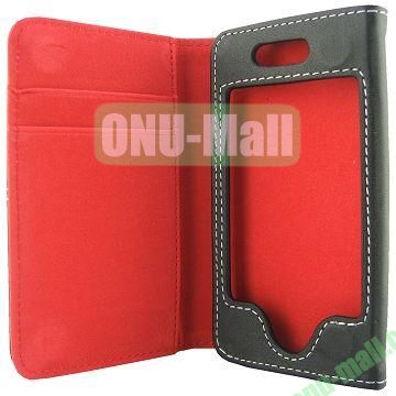 Skidproof Double Color Wallet Full Body Leather Case For iPhone 5  5S (Red+Black)